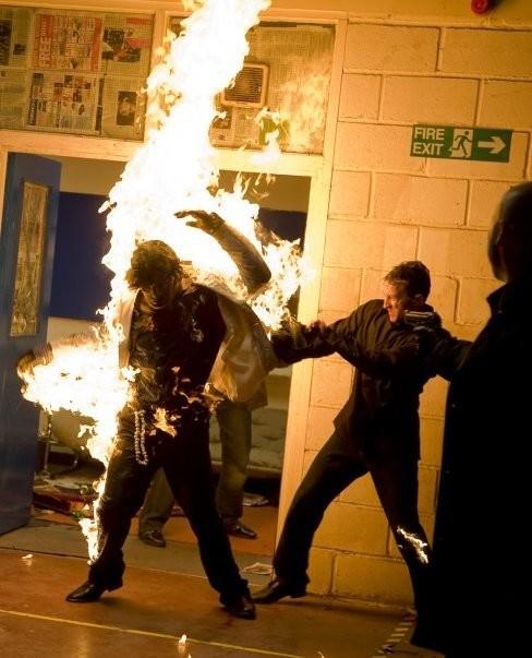 Fire stunt in 'Baseline'.