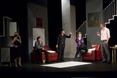 Sue Devaney, Lee Ryan, Ben Jones and Lucy Benjamin in 'The Pretender Agenda'.