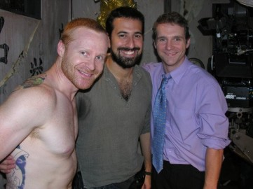 Scott Hinds and Grant Anthony with Director Giacomo Cimini on 'The Happy Seppuku'.
