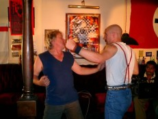 Stuart St Paul and Scott Hinds working through fight scene in 'I Proud to be an Indian' .