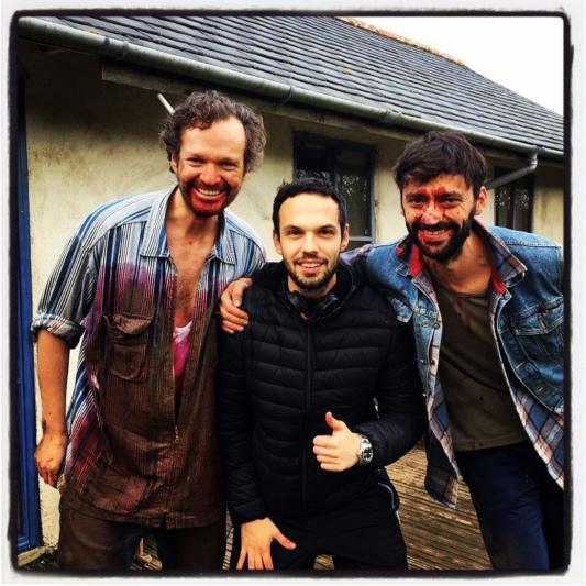 Director of 'Eye For An Eye', Alex Jovanoski, with cast members Matthew Sanders and Lukas Kubik.